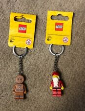LEGO Winter Christmas Santa Claus & Gingerbread Keychains New 850150 851394