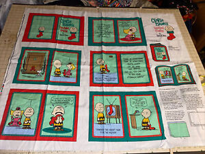 Snoopy Peanuts Charlie Brown's Christmas Stockings Fabric Book Panel 1 Yard VTG