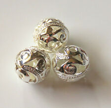 30pcs 12mm Round Metal Alloy Spacer Beads - Bright Silver #3