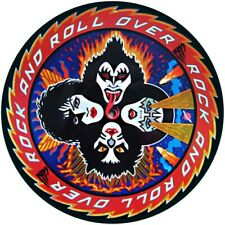 """KISS ROCK AND ROLL OVER QUALITY VINYL STICKER  100MM ROUND 4"""", BUY 2 GET 1 FREE"""