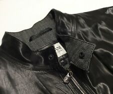 Armani Collezioni Leather Jacket Men Moto Biker Rider Cafe Racer Luxury Italy 38