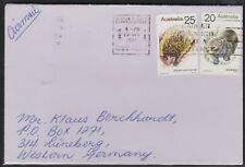 1975 45c Cover Australia 25c Anteater 20c Wombat Air Mail Germany Cancer Slogan