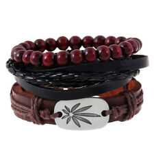 Black Men Women Fashion Leather Bangle Beaded Cuff Wristband Bracelet 4pc Set