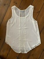 Topshop Vest Top Size 10 Ivory Semi Sheer Lace Insert Sleeveless