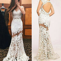 Women Lace V Neck Backless Slim Bodycon Fishtail Maxi Long Dress Party Ball Gown