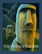 Easter Island Rapa Nui Moai Polynesian Lowbrow Man Cave Art Print Tiki Bar Decor