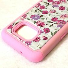 For Samsung Galaxy S7 - HARD & SOFT HYBRID DIAMOND BLING ARMOR CASE PINK FLOWERS