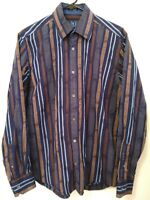 Bugatchi Uomo Classic Fit Mens Medium Blue Multicolor Striped Button Up Shirt