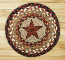 "BARN STAR 100% Natural Braided Jute Swatch, 10"" Trivet/Placemat, by Earth Rugs"