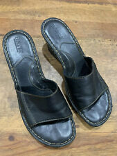 Born Black Leather Comfort Slip-On Wedge Sandals Women's Size 10
