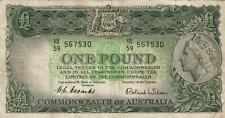 AUSTRALIA 1 POUND BANKNOTE Coombs Wilson NICE CIRC LIGHT CREASES, MARKS NO HOLES
