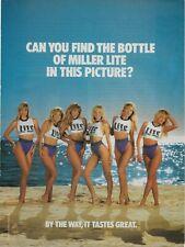 1989 Miller Lite Bikini Girls Beer Beach Original Vintage Photo Poster Print Ad