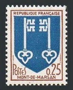 France 1144 block/4,MNH.Michel 1535. Arms of cites,1966.Mont-de-Marsan.Keys.