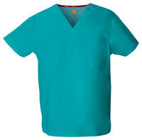 Teal Blue Dickies Scrubs EDS Signature Unisex V Neck Top 83706 TLWZ