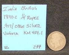 1840 C British India 1/4 Rupee Silver Coin KM 454.1 VG Victoria .917/.0861 ASW