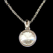 w Swarovski Crystal Rivoli Simple Everyday Round Circle Pendant Chain Necklace