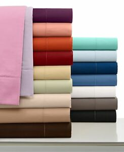 4 PC Bed Sheet Set King Size 1000 TC Egyptian Cotton All Solid&Stripe Colors