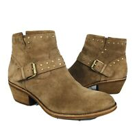 Sofft Women's Western Harness Ankle Boots Brown Suede Leather Studded 11 M ~NWOB