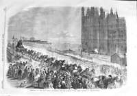 Old Antique Print 1858 New Bell Victoria Clock Tower Palace Westminster 19th