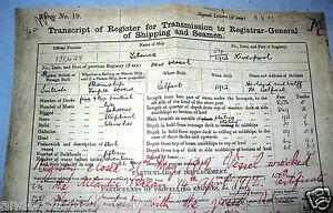 TITANIC Registry Transcript Document Ship Vintage Belfast Antique Interesting UK