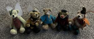 """Lot 5Jointed Miniature Fairy Bears -Little Gem World Mini Ganz-2""""-3"""" Very Cute !"""