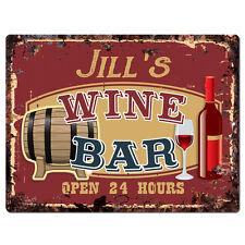 PWWB0159 JILL'S WINE BAR OPEN 24Hr Rustic Tin Chic Sign Home Decor Gift