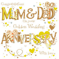 Mum & Dad Golden 50th Wedding Anniversary Greeting Card By Talking Pictures Card