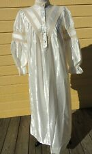 Vintage Ilise Stevens Satin Granny Nightgown Cotton Lined Small Costume