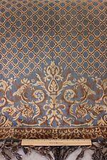 Antique c1880 French Cotton Cut Velvet Partial Victorian Throw Fabric W/Fringe