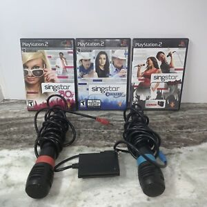 PS2 SingStar - Country/80s/rocK Game Bundle/ 2 Microphones/Adapter PlayStation 2