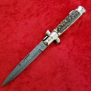 Falcon Italy Stiletto Stag Damascus Manual Opening Lockback Knife