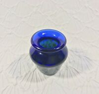 Hand Blown Cobalt Blue Green Swirl Studio Art Glass Vase Small 3.25""