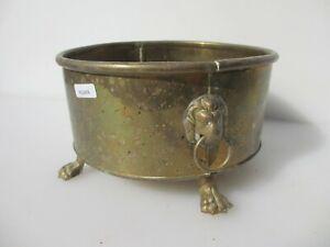 """Vintage Brass Trough Tub Planter Plant Pot Old Urn Lion Handles Antique 8""""W"""