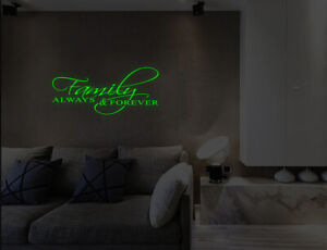 Luminous Family Always & Forever Wall Stickers Bedroom Lounge Decals UK 32we