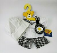 Build A Bear Workshop Chef Costume Outfit Shirt Shorts Hat 4 PC Black White