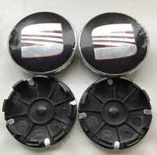 4x 62MM SEAT BLACK/RED ALLOY WHEEL CENTRE CAPS FOR LEON IBIZA ALHAMBRA AROSA