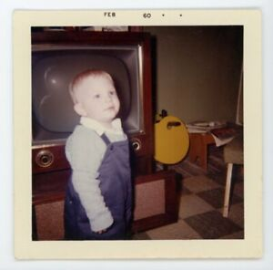 Tv television with flash reflection of child  Vintage snapshot found  photo