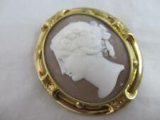 Real shell cameo 18k gold cased brooch pin antique Victorian c1840. tbj02850