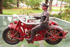 "1928 Hubley Harley-Davidson Highway Patrol With Sidecar 9"" Pull Toy #12F  harley"