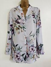 NEW Ex Wallis 10-18 Grey Ivory Purple Floral Printed Chiffon Blouse Shirt Top