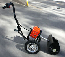 Two Wheels Push 52cc Snow Sweeper Driveway Cleaner Artificial Grass Power Broom