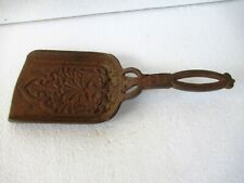 "Antique Fireplace Tools Ash Shovel Cast Iron Embossed Design Collectibles Old""F2"