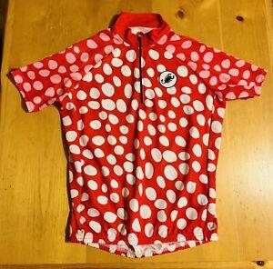 Castelli Women's CYCLING JERSEY Medium M 1/4 Zip Red Pink White Polka Dots