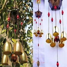 Outdoor Yard Garden Living Room 5 Bells Copper Wind Chimes Home Haning Decor