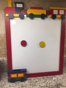Wooden Train Magnetic Bulletin white Board kid's room