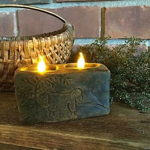 Primitive/Colonial Scented Blackened Beeswax Sheep Double Flicker Candle Country