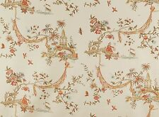 COWTAN & TOUT WHIMSICAL PAGODAS CHINOISERIE FABRIC TOILE 10 YARDS CORAL AMBER