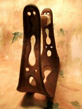 RARE Antique YOUTH SIZE Heavy Iron Cowboy Horse Saddle Stirrup w/ Cut-outs