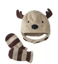 Reindeer Brown Toddler Jumping Beans Embroidered Hat and Mittens Set Size 2T-4T