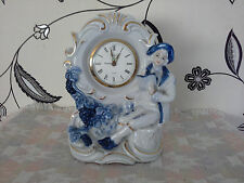 vintage blue and white mantal clock
